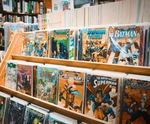image of a comic book shelf