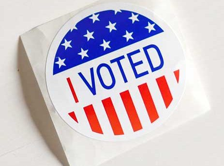 Sticker saying I Voted